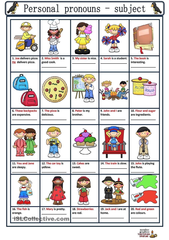 Personal Pronouns Worksheets For Preschoolers