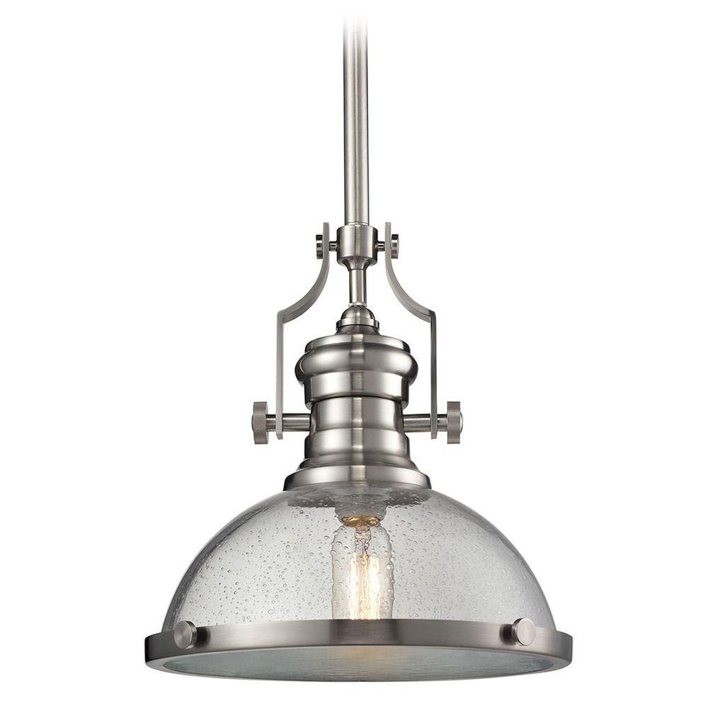 Elk Lighting Chadwick Satin Nickel Pendant Light With Bowl