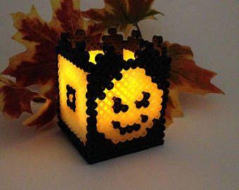 Glow in the Dark Pumpkin Perler Bead Halloween Black and Orange Small light Cube Box with Tea Light