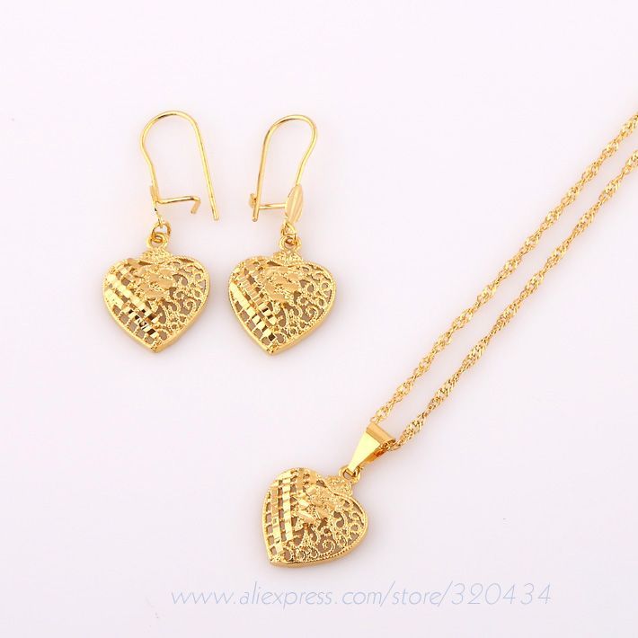 24K Gold Chain Heart Popular Necklace Pendant Lovely Earring,Women ...