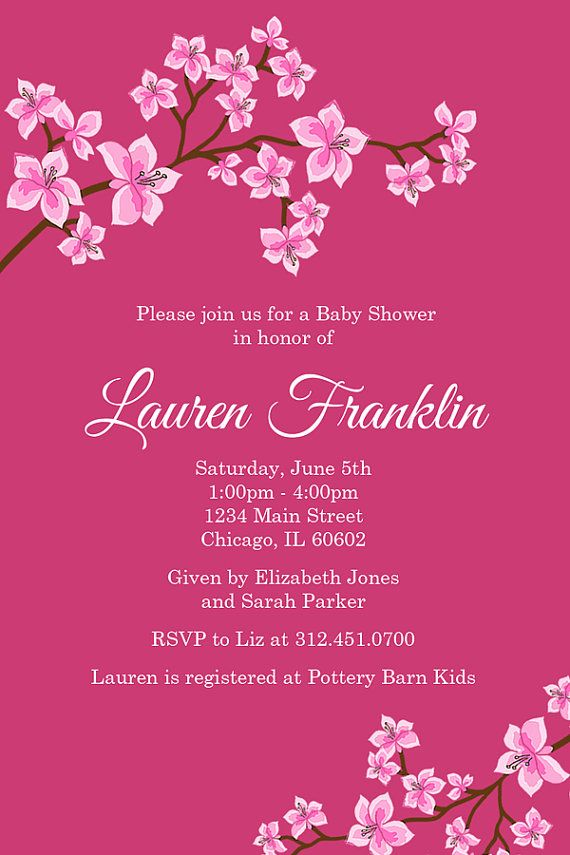 Cherry Blossom Baby Shower Invitation Pink Cherry by Honeyprint ...