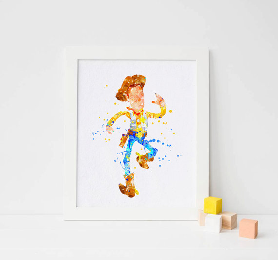 Disney Toy Story Woody Watercolor Party Print Decor Wall Art Printables