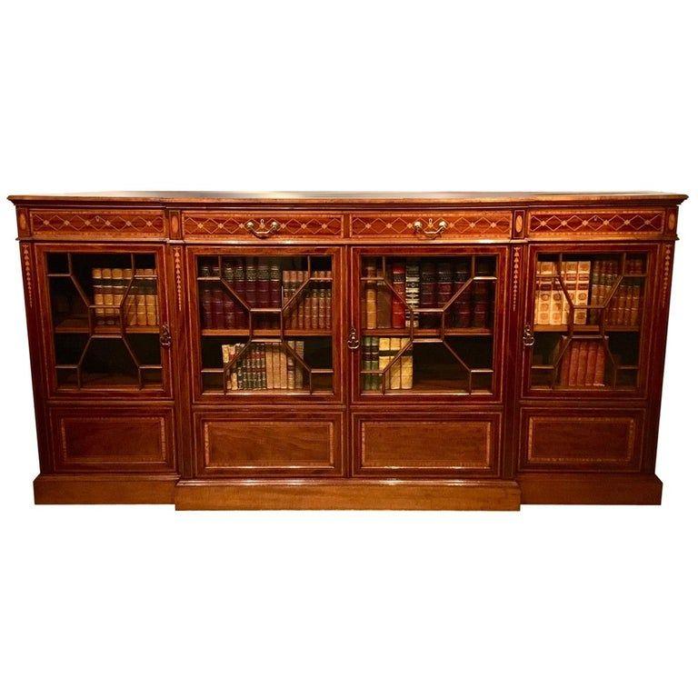 1stdibs Bookcase - Inlaid Period Breakfront Shoolbrood Edwardian Mahogany #edwardianperiod