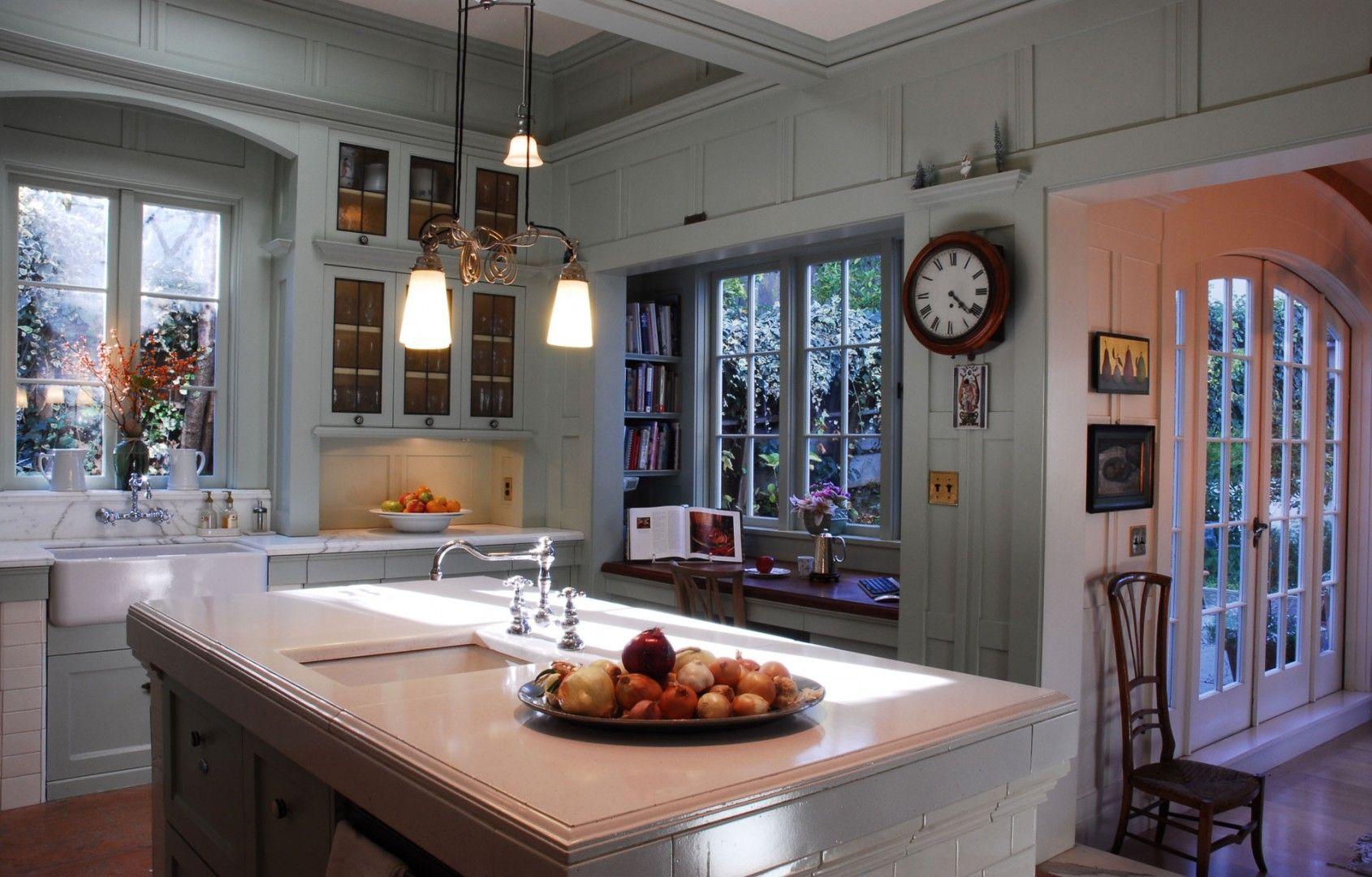 Spaces | John Malick & Associates I like the cookbook bookshelf at the window desk.  Good area for baking as well.