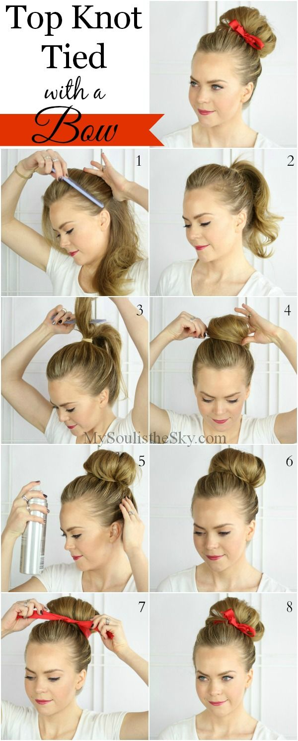 Turn Up Your Top Knot This Bun Is Easy To Do And Adding A Bow Will