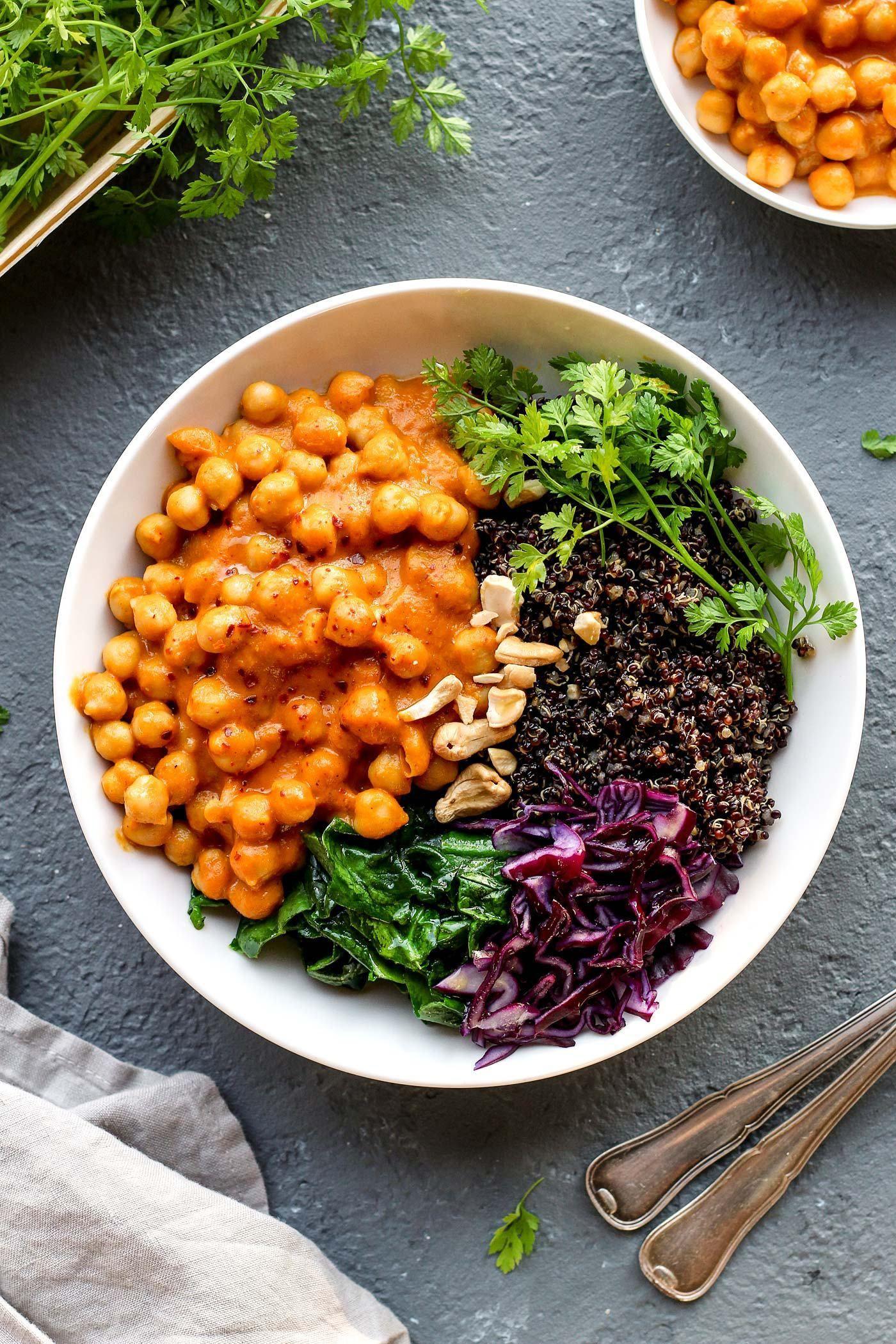 Masala Chickpea Buddha Bowl Vegetarian recipes, Bowls