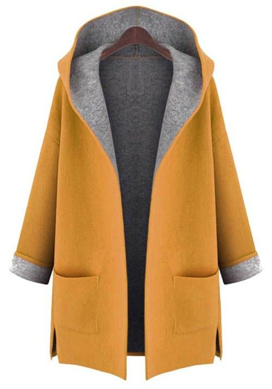 Yellow Plain Pockets Hooded Sweet Wool Coat | looks {autumn ...