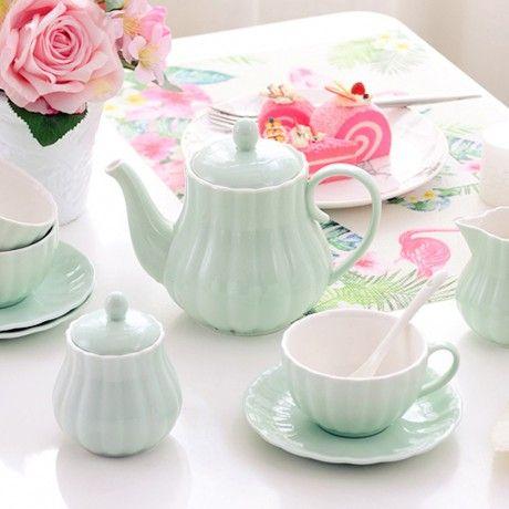 Solid Color Porcelain Tea Sets of 15 For Parties #teasets