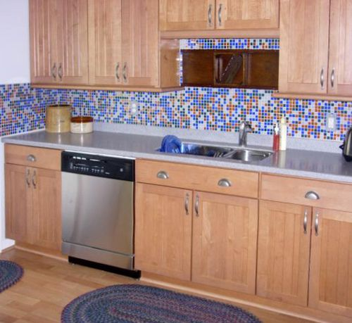 spectralight blue kitchen backsplash after kitchen remodel