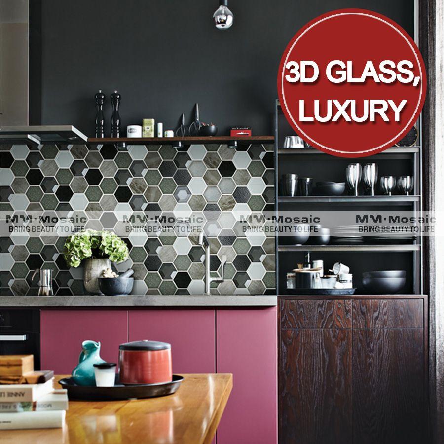 Decorative hexagon pattern cracked ceramic 3d glass kitchen decorative hexagon pattern cracked ceramic 3d glass kitchen backsplash tile design dailygadgetfo Images