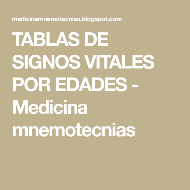 Tablas de signos vitales por edades medicina mnemotecnias jv ejercicios urtaz Choice Image