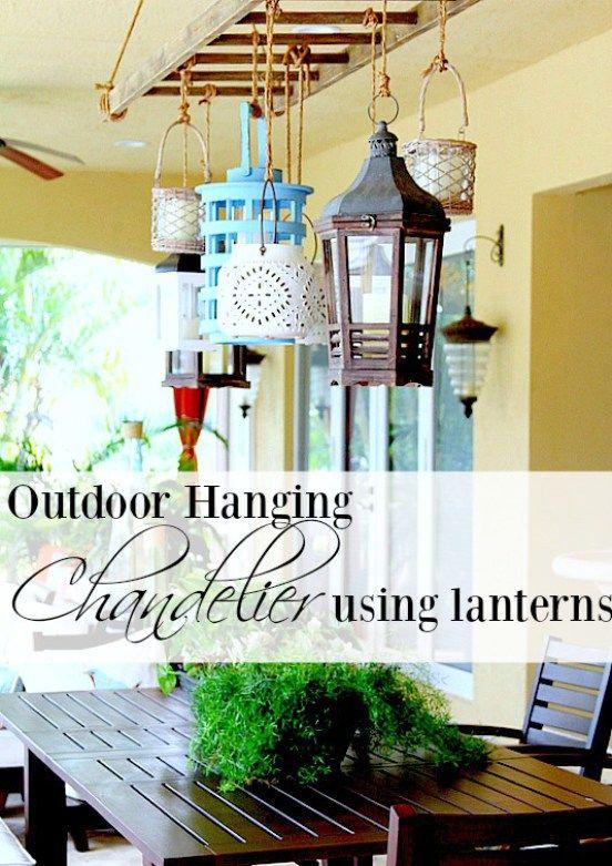Outdoor hanging chandelier using lanterns iluminacin exterior outdoor hanging chandelier using lanterns aloadofball Choice Image