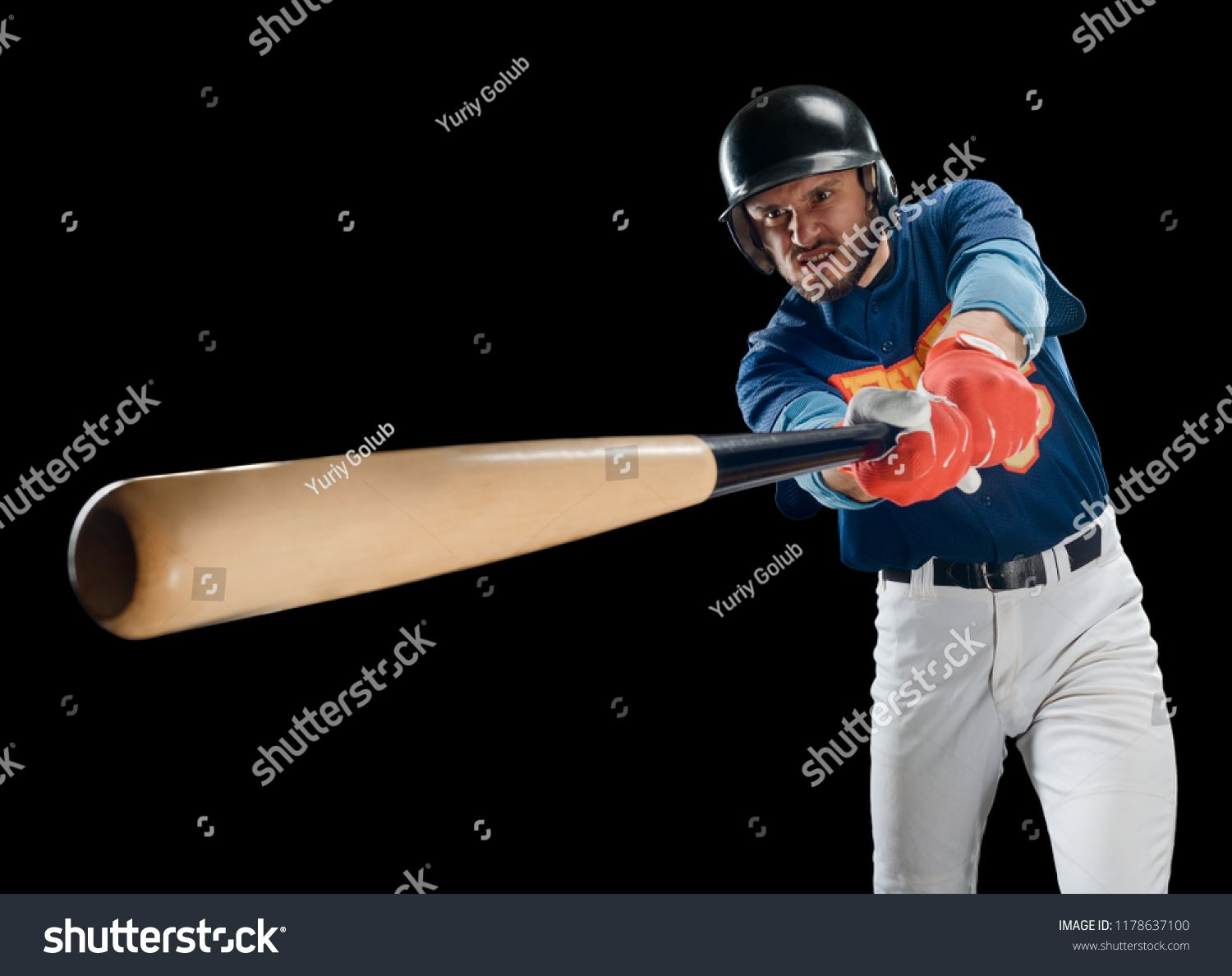 Portrait Of A Batter Swinging A Bat On Black Powerful Sportsman With Rage Face Team Sport Background With Copy Space Ad Rage Faces Photo Editing Portrait