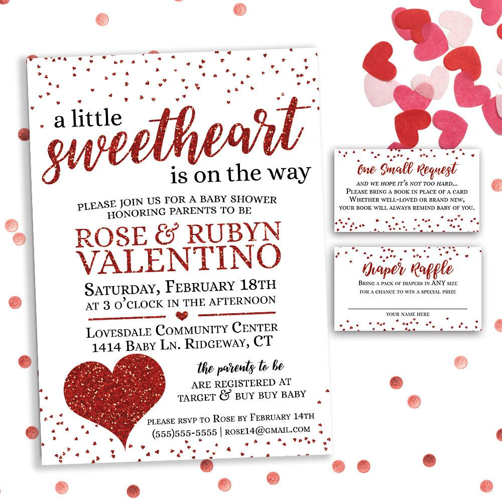 A Little Sweetheart Is On The Way Valentine Baby Shower Invitation