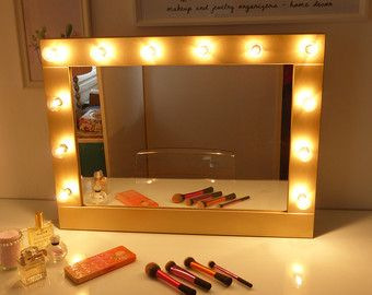 Hollywood Mirror With Lights Vanity Lighted Makeup Wall Hanging Or Self Standing Miroire Maquilleuse