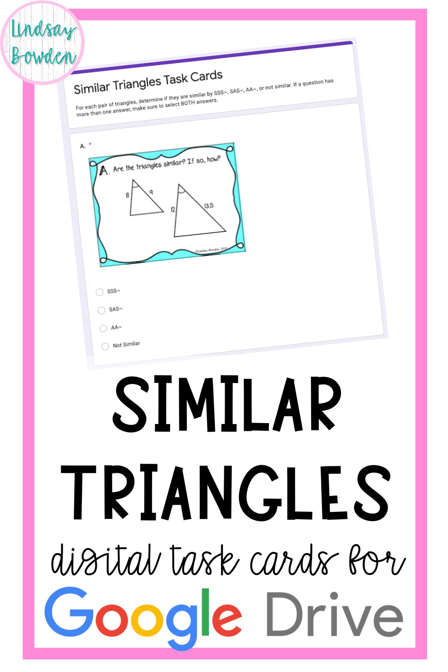 Similar Triangles Digital Task Cards In