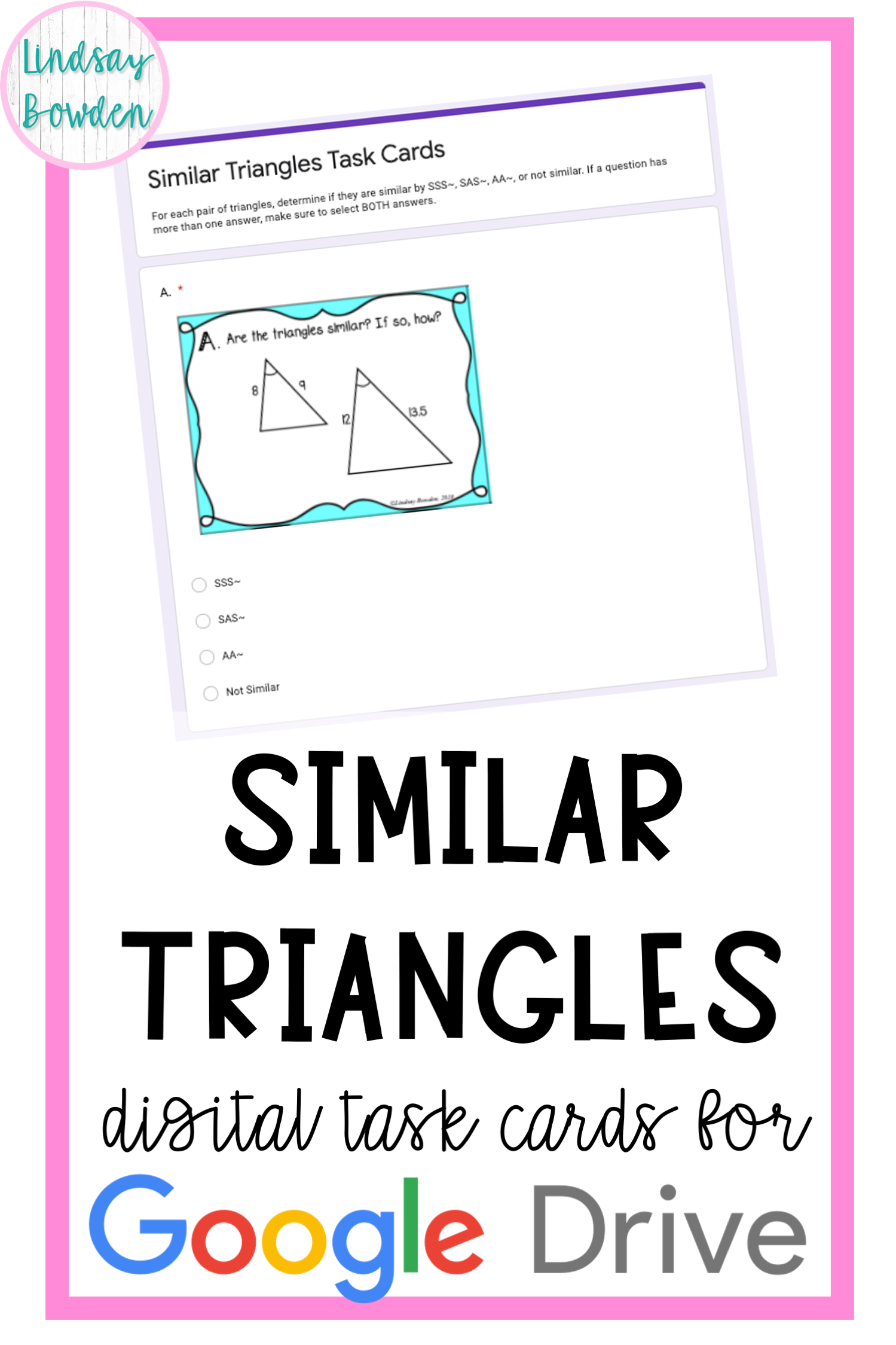 Similar Triangles Digital Task Cards   Free math lessons [ 2249 x 1499 Pixel ]