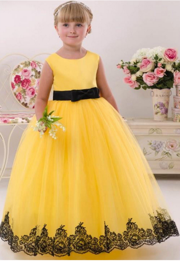 ABAO Children/'s Girls/' Yellow Black Lace Formal Pageant Elegant Ball Gown Dress