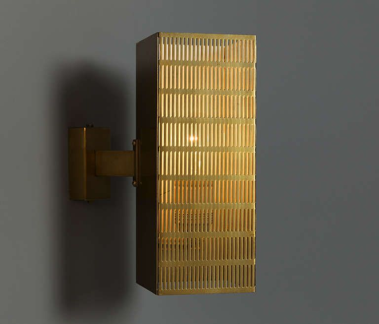 1stdibs Com Set Of 6 Important Solid Brass Sconces With Perforated Body Sold Per Pair Wall