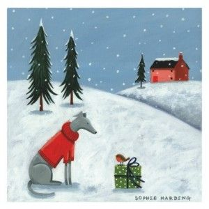 24322 Just Whippets Xmas 150x150 Card 1 Whippet Merry Christmas Dog Greyhound Art