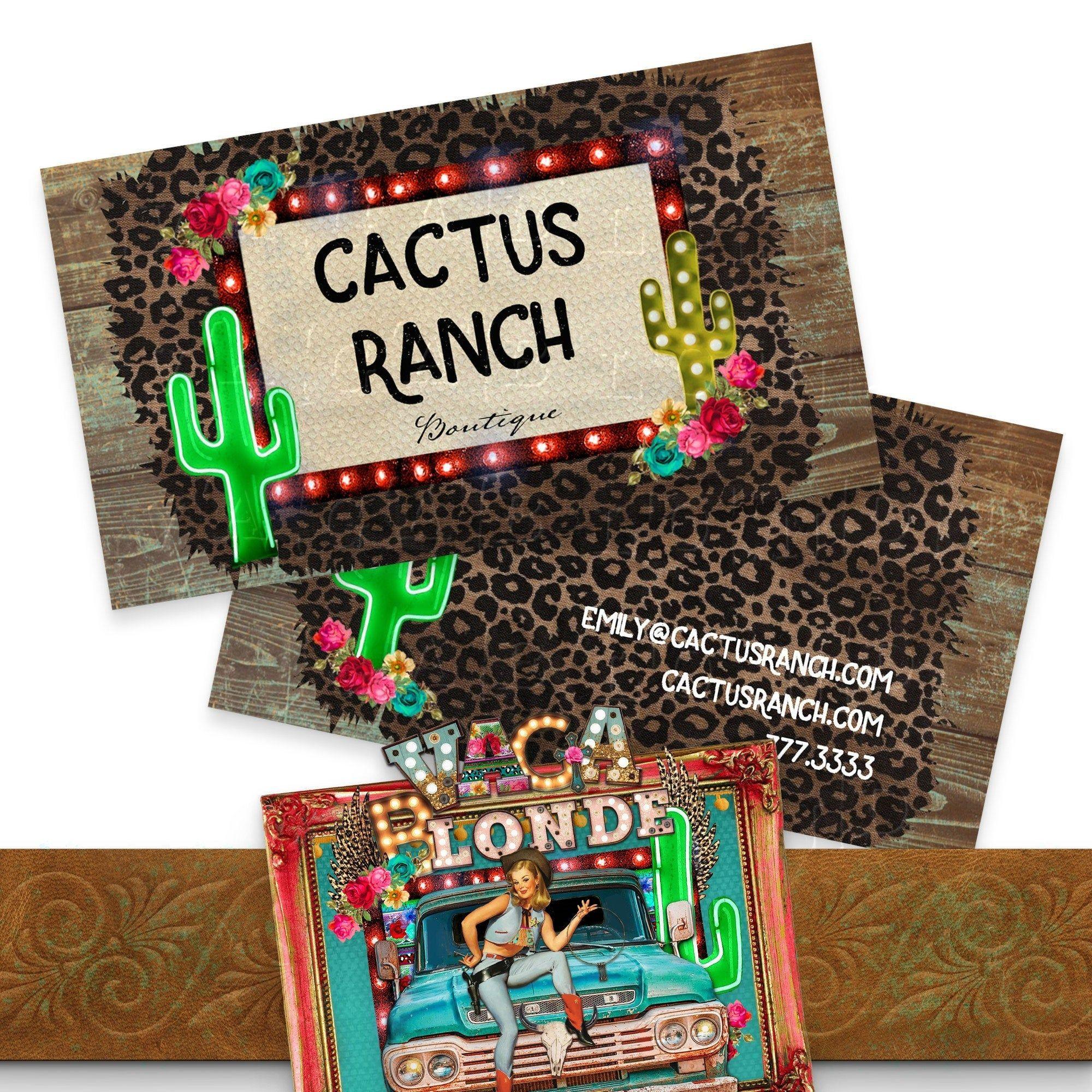 Cactus ranch business card set diy business card design