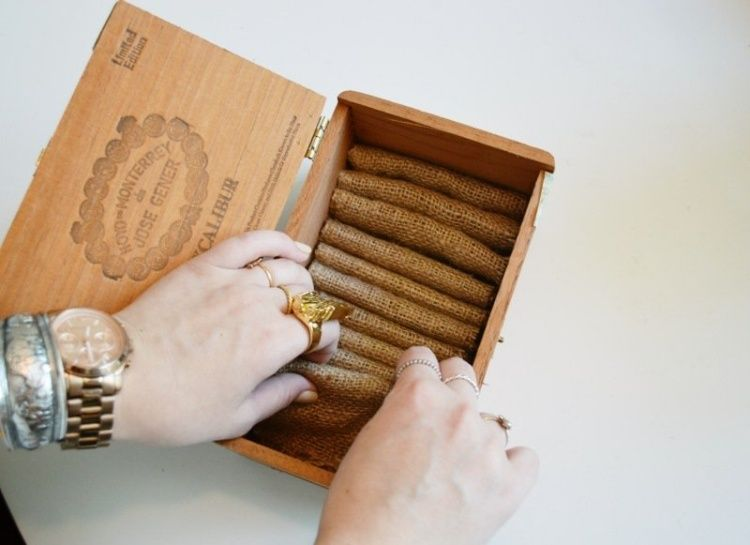schmuckkastchen holz basteln, schmuckkästchen aus einer holz- zigarrenbox basteln   kreativ, Innenarchitektur