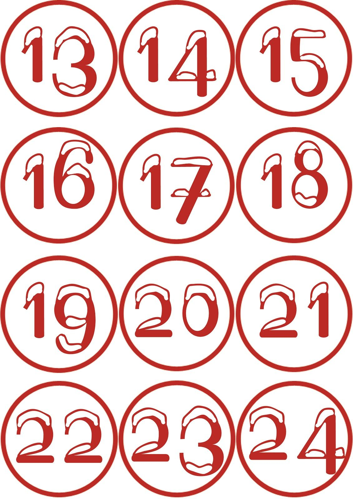 Numeri Per Calendario Avvento.Numeri Con Neve Per Calendario Dell Avvento Printables