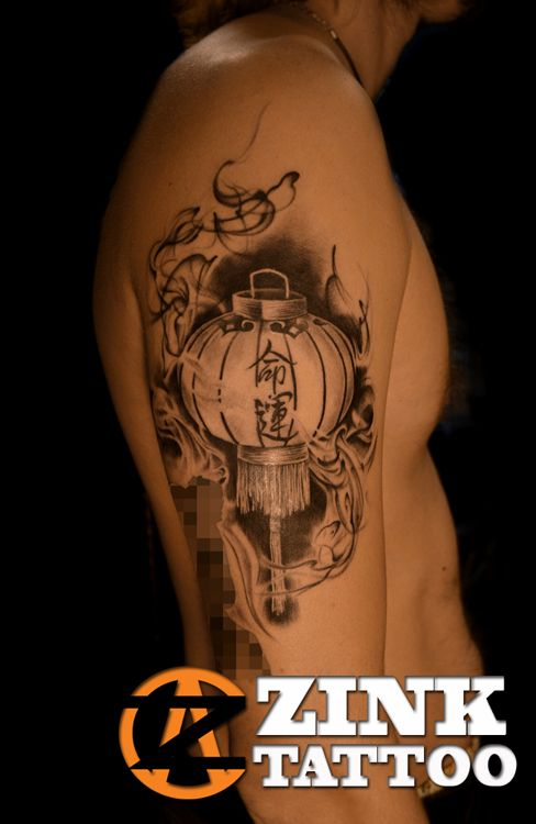Amazing Grey Chinese Lantern Tattoo On Right Half Sleeve ...