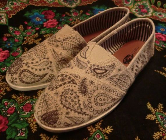 BOHEMIAN WANDERING  Hand Decorated Toms Style by BabylonSisters, $65.00