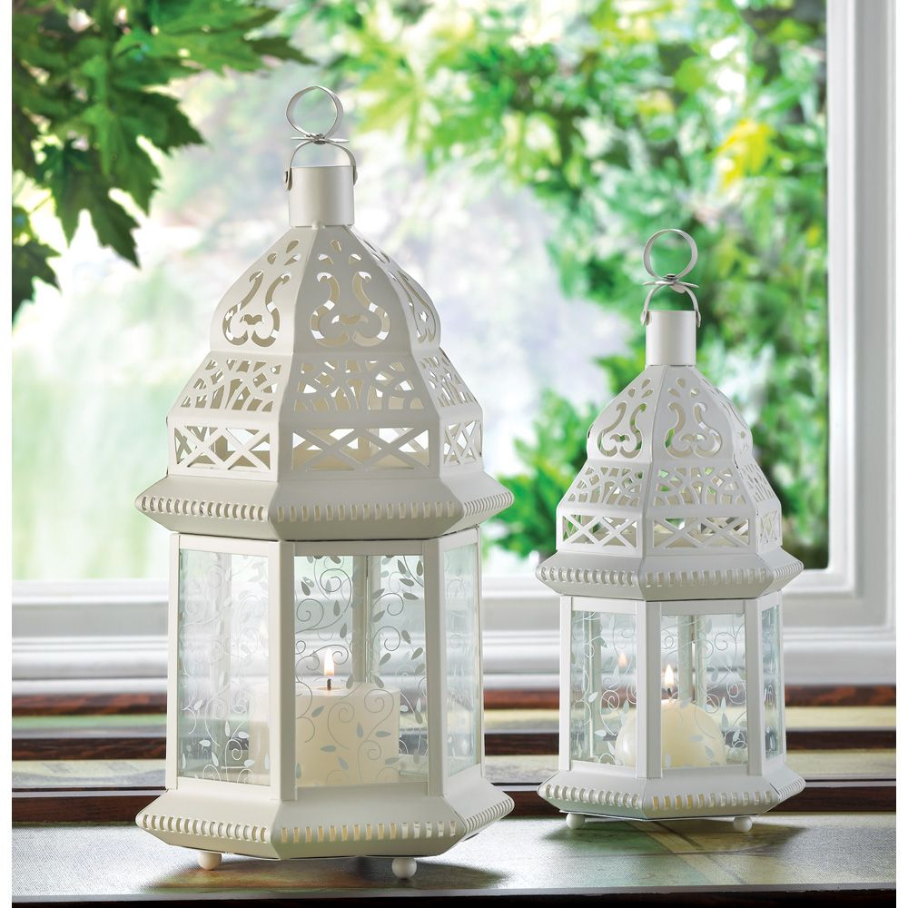 LARGE WHITE MOROCCAN LANTERN (Item # 38466) Light leaps in lacy ...