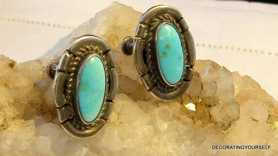 Blue Turquoise Earrings Sterling Silver by DecoratingYourself