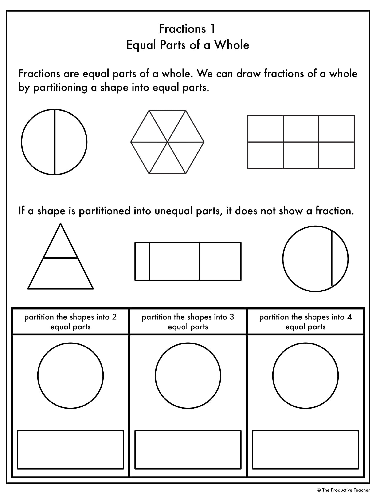 Fractions Progression Worksheets