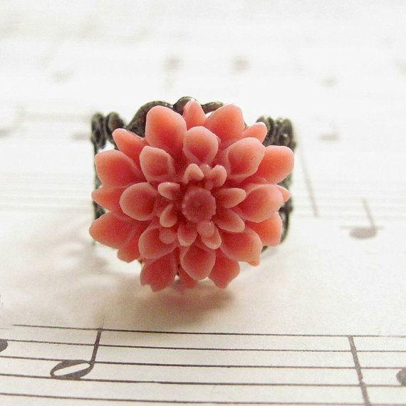 Sale Pink Coral Flower Ring Dahlia Flower Ring Filigree Ring Etsy Pink Flower Ring Vintage Style Rings Vintage Inspired Rings