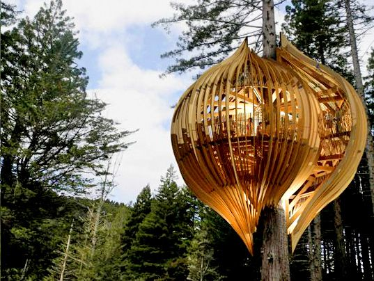 yellow pod treehouse. so cool!