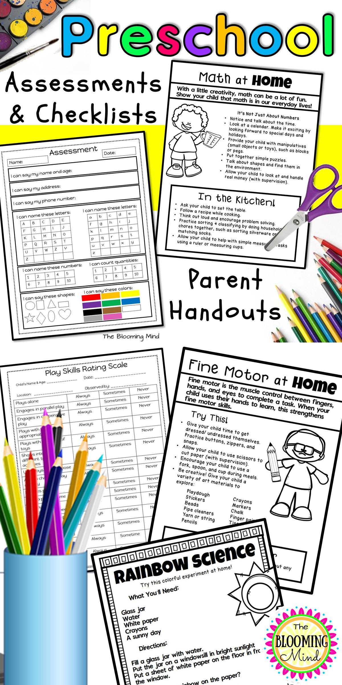 Preschool Assessment And Parent Handout Bundle In 2018 Learning
