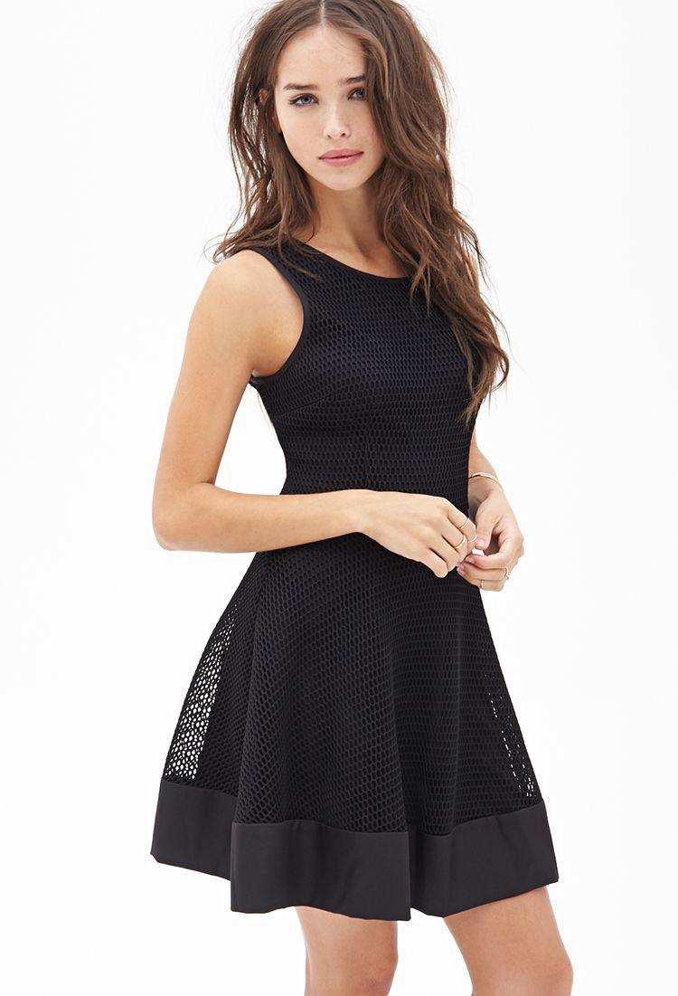 54fe4fd2ce Mesh Fit   Flare Dress