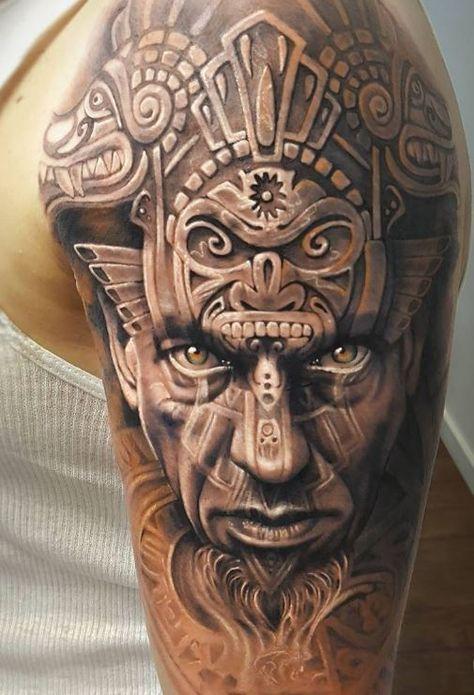 Breathtaking Aztec Warrior Tattoo Half Sleeve Tattoos For Guys