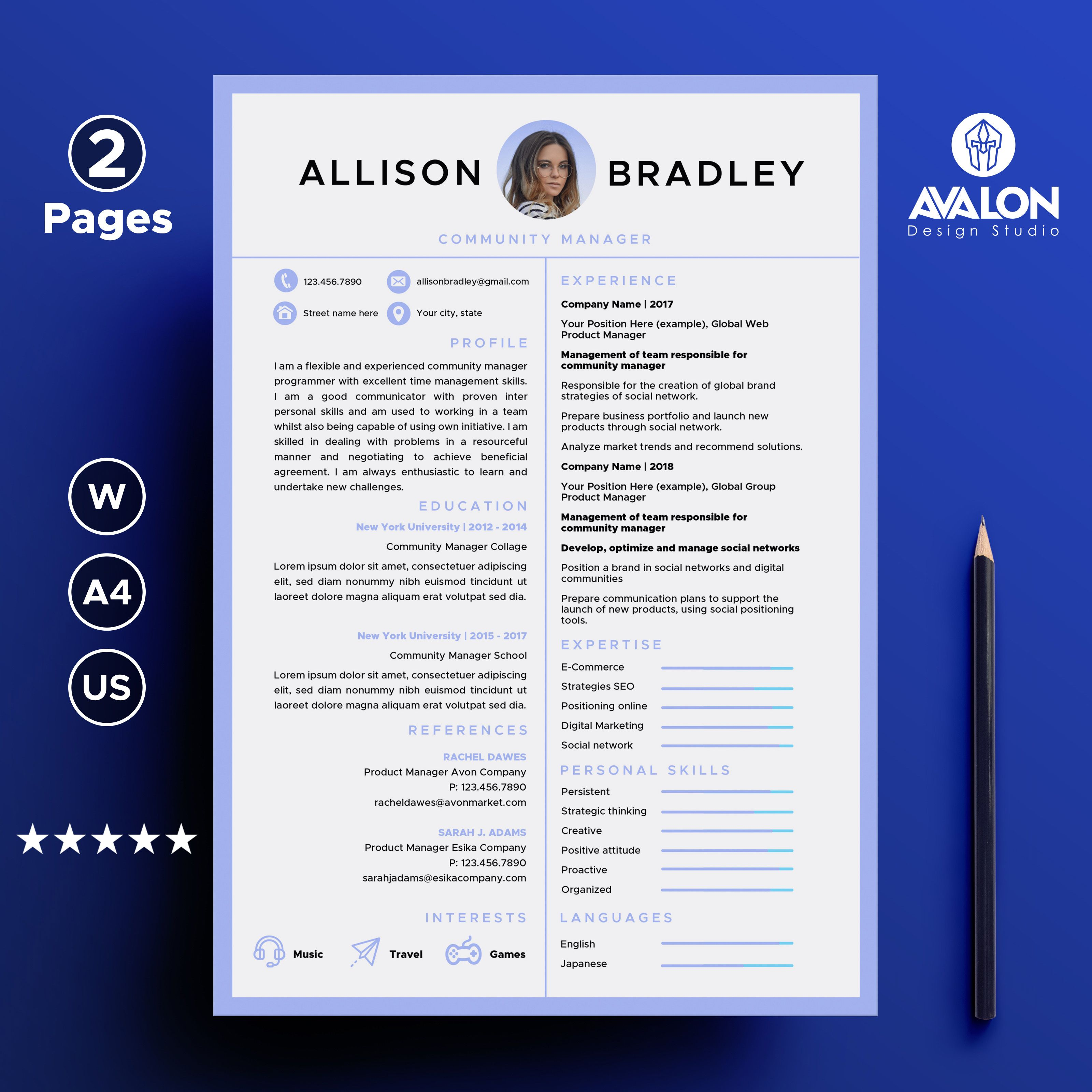 Professional Resume Template For Microsoft Word 2 Pages Creative Cv Template Instant Dow Creative Cv Template Resume Template Resume Template Professional