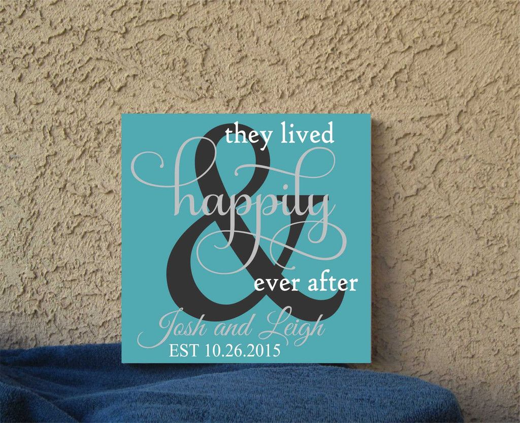 Hand Painted Wedding Canvas Happily Ever After Custom Save Date Diy Canvas Wall Art Wedding Canvas Hand Painted Wedding