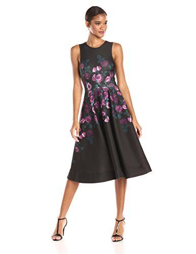ERIN erin fetherston Womens Fleur Print Fit and Flare Dress