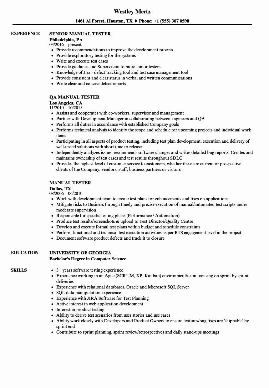 Qa Tester Resume with 5 Years Experience New Manual Tester