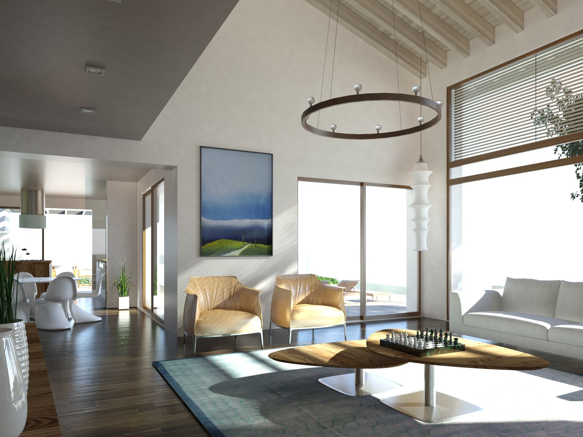 Il soggiorno a doppia altezza si apre sul giardino e la for Case con verande tutt attorno