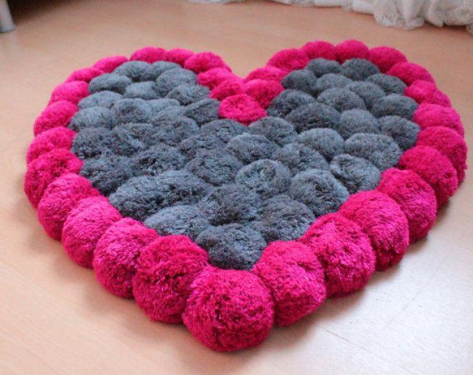 Pom Pom Rug Pompom Rug Heart Rug Teen Room Decor Nursery Rug Girly Room Decor Baby Room Rug Soft Rug Pink Rug Washable Rug