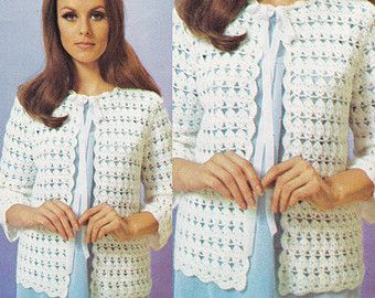 Bed jacket lingerie pattern vintage ladies housecoat crochet shop for crochet patterns for womens jackets on etsy the place to express your creativity through the buying and selling of handmade and vintage goods dt1010fo