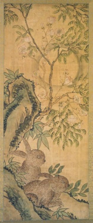 Rabbits andMoon - 19th century, Joseon Dynasty