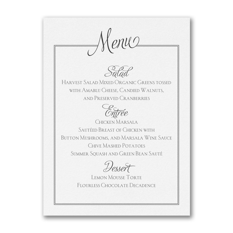 Chic Frame Custom Printed Wedding Menu Cards http://partyblock ...