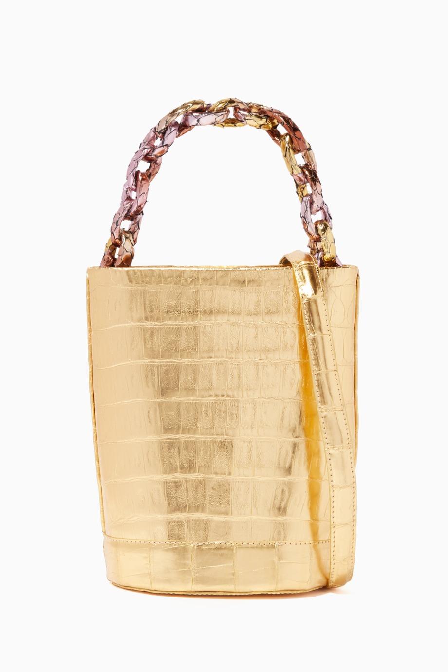Shop Nancy Gonzalez Gold Small Bucket Crocodile Shoulder Bag For Women Ounass Uae Bags Shoulder Bag Fashion Bags