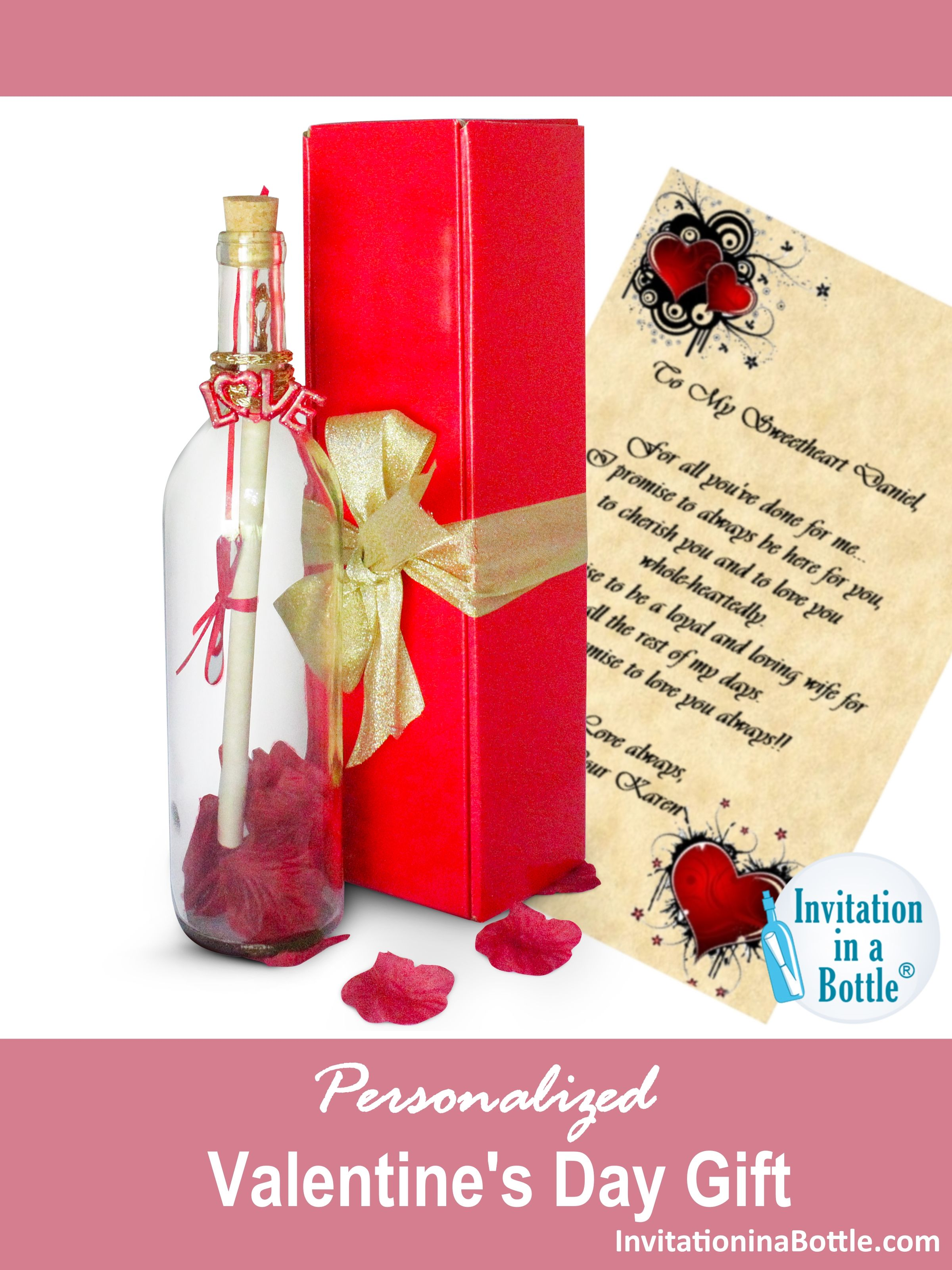 Heart Of Roses Romantic Message In A Bottle Letter