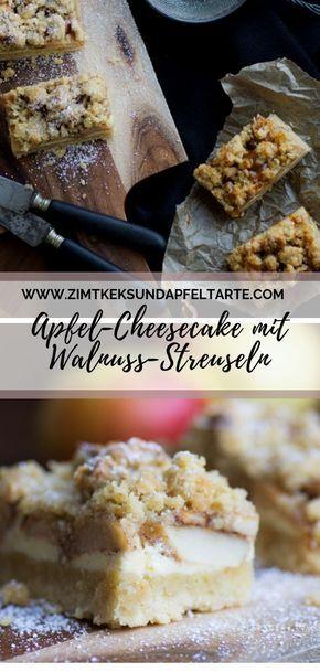 Apfel-Cheesecake mit Walnuss Streuseln - einfach und lecker