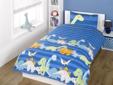 kids childrens boys dinosaurs navy blue single bed size duvet cover quilt set